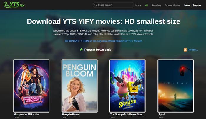 10大种子网站 – YIFY/YTS