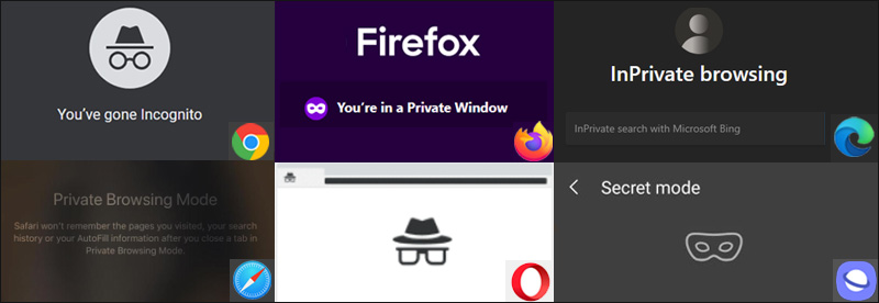 Private Browsing Modes of Different Browsers